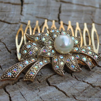 Vintage Gold Pearl Rhinestone Marcasite Hair Comb - Bridal, Prom, Pageant