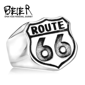 Stainless Steel USA Biker Road ROUTE 66 Ring For Men Motor Biker Men's Jewelry BR8-126
