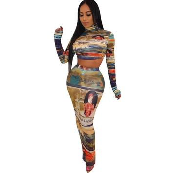 Women Sexy Two Piece Printed Long Sleeve Crop Top Maxi Skirt Set