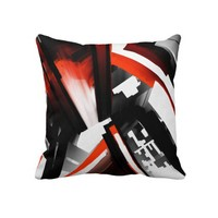 Red Black and White Abstract Throw Pillow from Zazzle.com
