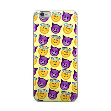 Happy Angel & Purple Devil Emoji Collage Cute Girly Girls Yellow & Purple iPhone 4 4s 5 5s 5C 6 6s 6 Plus 6s Plus 7 & 7 Plus Case
