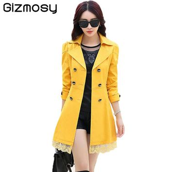 1 PC Trench Coat Women Lace Double-Breasted Trench Slim Especially Female Casual Windbreaker Outwear Plus Size Raincoat SY015