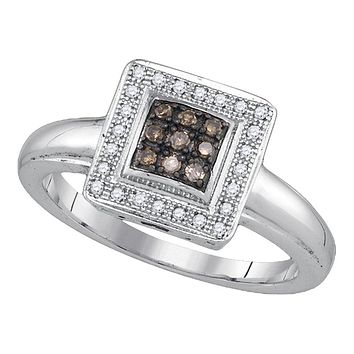 Sterling Silver Womens Round Cognac-brown Color Enhanced Diamond Square Cluster Ring 1/6 Cttw