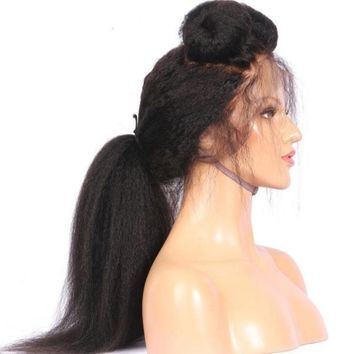 Brazilian 360 Human Hair Lace Front Yaky Straight Pre Plucked Wig