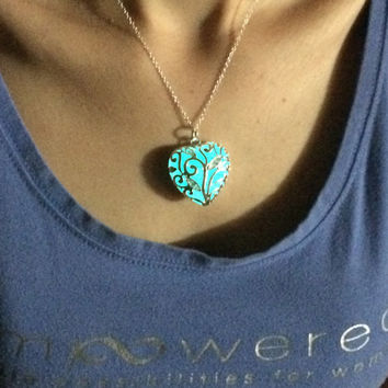 Glow in the dark jewelry , glowing necklace , glow in the dark necklace , heart locket , galaxy necklace , glowing locket , glow necklace