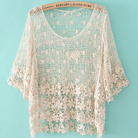 A 071133 fashion Crochet hollow shirt