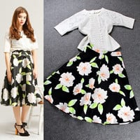 Eyelet Cutout Top Spliced Floral Printed Swing Maxi Skirt