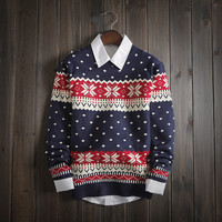 Men's Ethnic Fair Isle Knitwear Soft Slim Fit Sweater