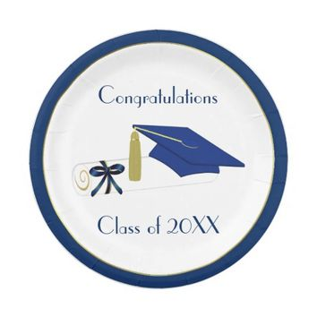 Blue and White Graduation Custom Paper Plates 7 Inch Paper Plate