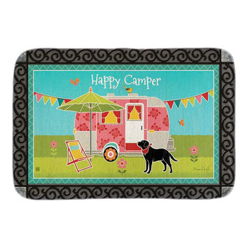 Animals Doormats Decor With Happy Camper Doormat Garden Dog Indoor Outdoor Mats Soft Lighteness Short Plush Fabric Bathroom Mats