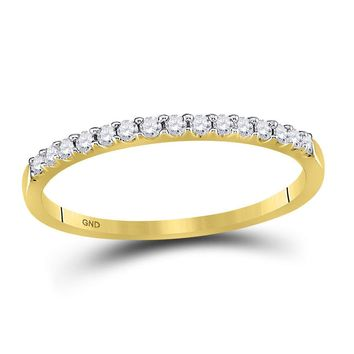 14k Yellow Gold Round Diamond Womens Slender Stackable Size 9 Wedding Band 1/6 Cttw