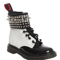 Demonia By Pleaser White Studded Cuff Lace-Up Boots