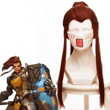 New Arrival Overwatch Brigitta Lindholm Wig for Women Girls Long Straight Game Cosplay Wig 50cm Claw Clip Ponytail Red-brown