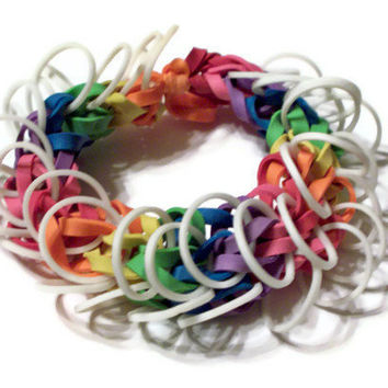 Rainbow Glow In the Dark Bracelet - Rainbow Rubber Band Bracelet with White Ruffles - Support Gay Pride, LGBT Bi and Lesbian Cause
