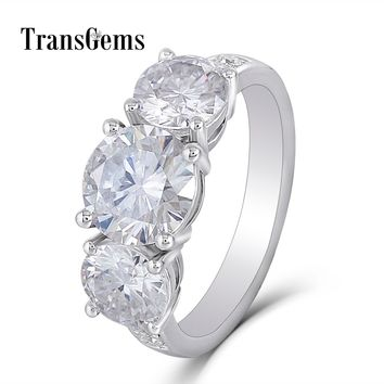 Transgems Three Stone Engagement Ring Gold Moissanite Ring for Women Wedding 7.5MM and 6MM F Color Moissanite Diamond 14K Gold