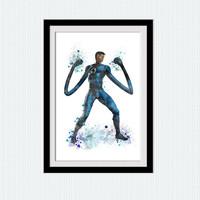 Fantastic Four poster Marvel watercolor print Mr. Fantastic colorful print Superhero wall decor Home decoration Kids room wall art W452