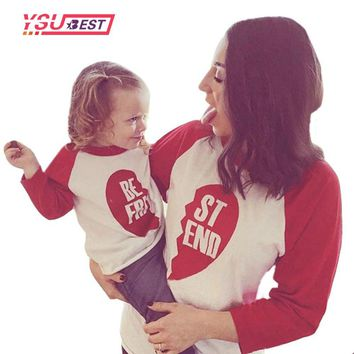 2016 New Summer Family Look T-shirts Cotton Long Sleeves Best Friend T-shirt Mom Kids Boys Girls Clothes Family Matching Outfits