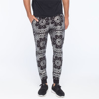 Elwood Metallic Bandana Mens Jogger Pants Black/Silver  In Sizes