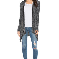 Michael Lauren Casper Draped Zip Up Hoodie in Marble