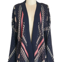 ModCloth Boho Mid-length Long Sleeve High-Low Hem Close-Knit Crew Cardigan