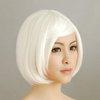 HealthTop White Short Straight BOB Cosplay Wig Heat Resistance Anime Show & Party Wig& Performance Hair Full Wigs + Free Cap