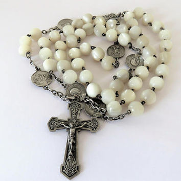 Antique French, Large, Mother Of Pearl, Hallmarked Silver, Rosary, Rare