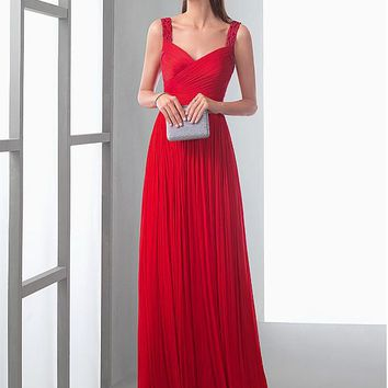 [118.99] Delicate Dense Tulle V-neck Neckline A-line Evening Dresses With Beaded Embroidery - dressilyme.com