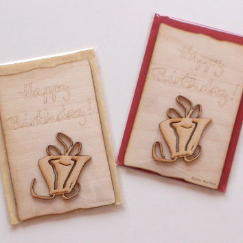Happy Birthday Wooden Card with Colored Envelope, Gift Idea, Lasercut