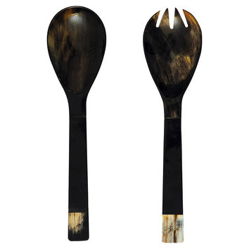 Horn Salad Servers, Black, Set of 2, Dinner Serving Utensils