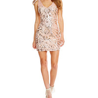 Jodi Kristopher Sleeveless Sequin Pattern Sheath Dress | Dillards