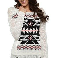 Long Sleeve Aztec Print Knit Sweater
