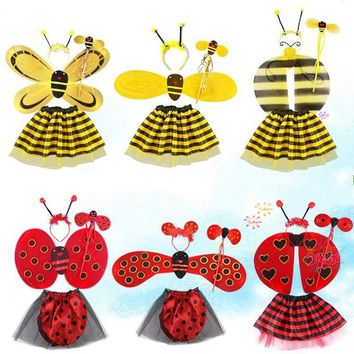 2017 NEW Bee Wings Antenna Headband Flower Wand Skirt Costume Set Performance Props Fairy Child Gifts Party Decoration