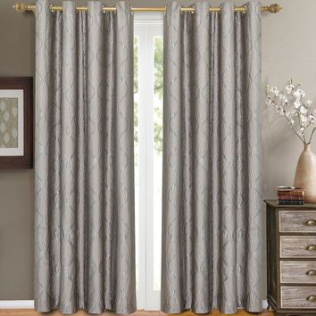 Silver Laguna Pair (Two Panels ) Jacquard Grommet Curtain Panels