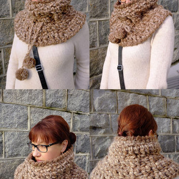Chunky Crochet Cowl Scarf With Draw Strings and Pom Poms Brown Oatmeal Tweed Collar Scarf Cute Neck Warmer Winter Infinity Scarf