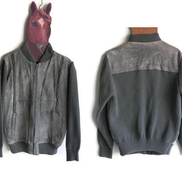 Vintage Grey Leather Jacket - Mens size Medium - Mervyns Mens Collection 1980s