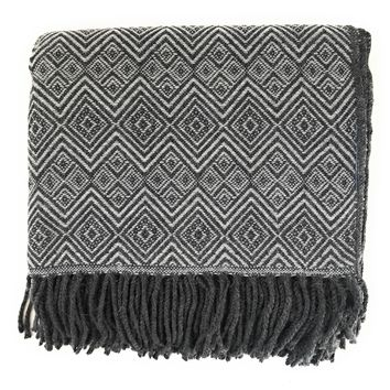 Handmade Alpaca throw blanket. Charcoal Gray and Silver. Hypoallergenic.