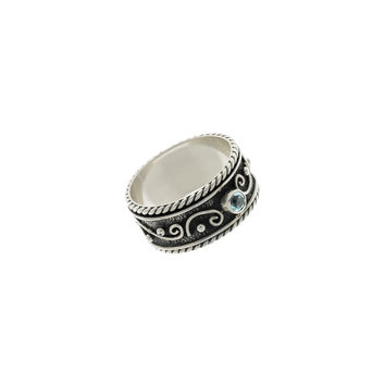 Ethos Sterling Silver And Blue Topaz Spinner Ring