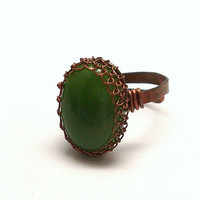 Green Nephrite Jade Copper Ring, Wire Wrapped Adjustable Ring