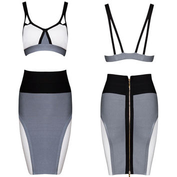 Women's Fashion Spaghetti Strap Hollow Out Tops Skirt Bandages Dress Bottom & Top [4919881796]