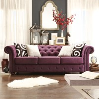 TRIBECCA HOME Knightsbridge Linen Tufted Scroll Arm Chesterfield Sofa | Overstock.com Shopping - The Best Deals on Sofas & Loveseats