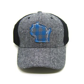 Wisconsin Trucker  Herringbone Trucker Hat - Teal Buffalo Check
