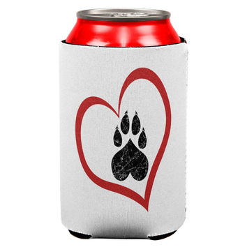 Valentines Day Paw Print Heart Cat All Over Can Cooler