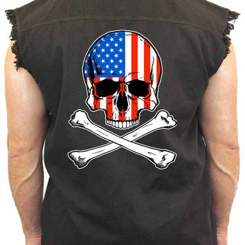 Men's USA Flag Skull with Crossed Bones Sleevless Denim Shirt Biker