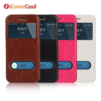 Coque for iPhone SE Cover Window View Case Flip Leather Fundas f 0bdbc73cf0