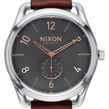 Nixon 'The C45' Leather Strap Watch, 47mm - Brown/ Silver/ Grey