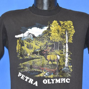 80s Petra Olympic the Challenge Forest Moose t-shirt Medium