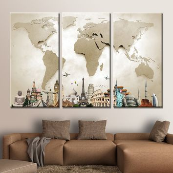 World Map Monuments Multi Panel 3-Piece Wall Art Canvas