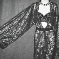 MORTICIA - Black Lace Night Dressing Gown Robe Boudoir , Burlesque , Sexy Lingerie , Anniversary, Drag Queen , Valentines, BDSM, Kimono