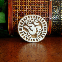 Om Stamp: Ohm Ahm Yoga Stamp, Hand Carved Wood Printing Block, Handmade Round Wooden Indian Print, Textile Ceramics Clay Pottery Stamp