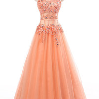 Long Prom Dress 2015 Coral Appliques See Through Corset New Arrival Formal Dresses Party Gowns Vestido De Festa